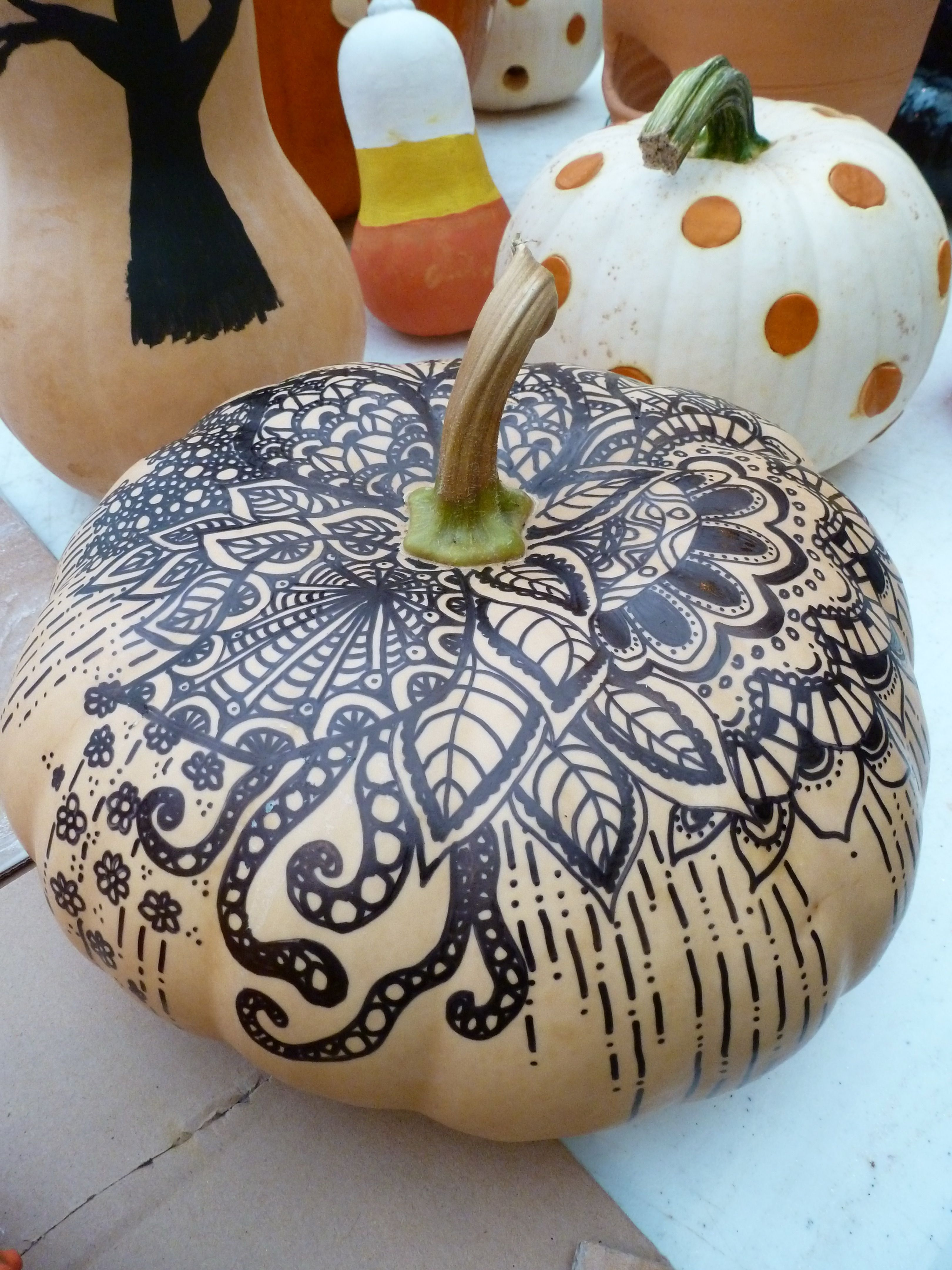 Doodles with a Sharpie on a Cheese Pumpkin. No cutting