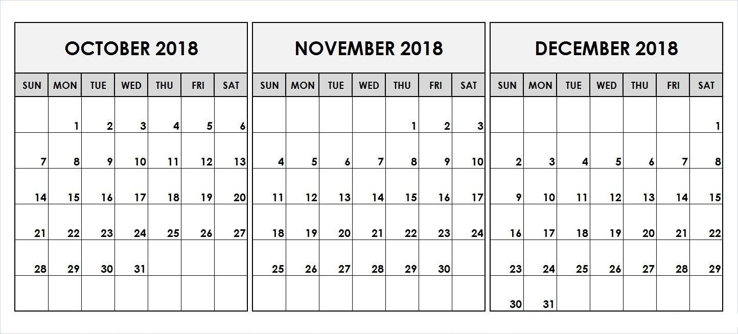 2019 Quarterly Calendar Printable Download November Calendar