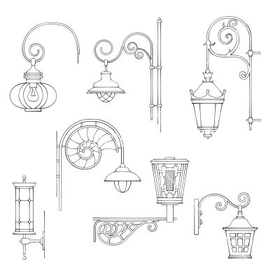 Retro and modern street lanterns vector by JMcreation