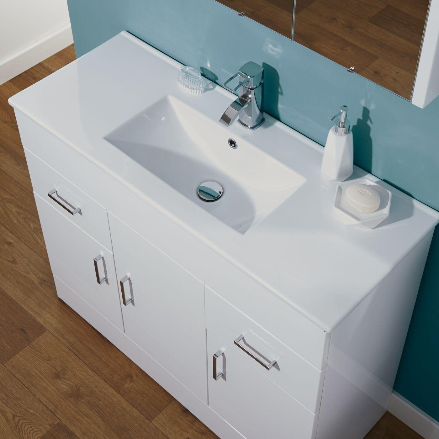 Minimalist gloss white vanity unit 600 800 or 1000mm - Milano Minimalist 1000mm White Gloss Bathroom Vanity Unit
