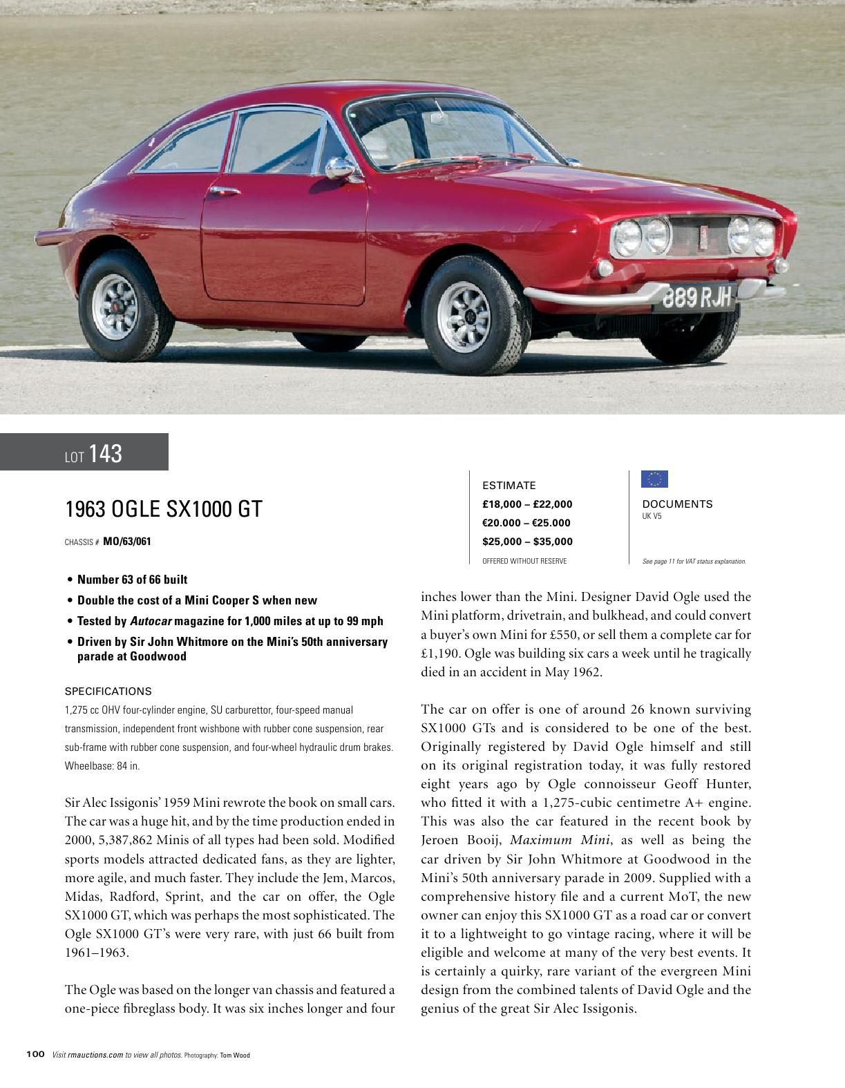 RM Auctions 1963 Ogle 1000 GT @rmauctions reminds me of an Austin ...