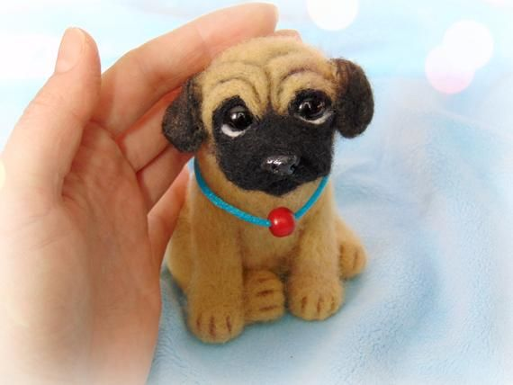 Pug Dog Toy Pappy Pug Natural Wool Toy Souvenir Breed Pug