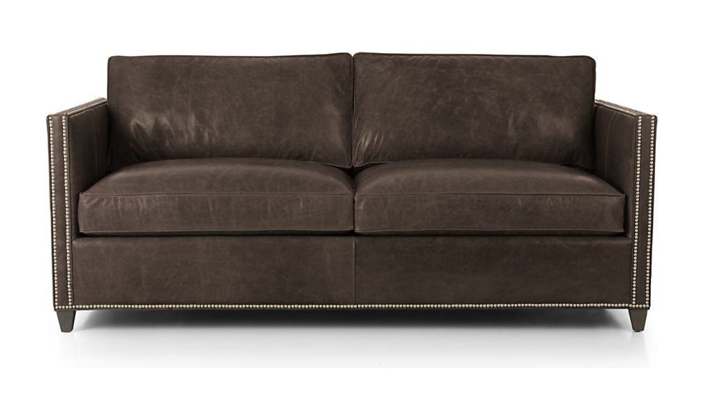 Best Dryden Leather Apartment Sofa With Nailheads Leather 400 x 300