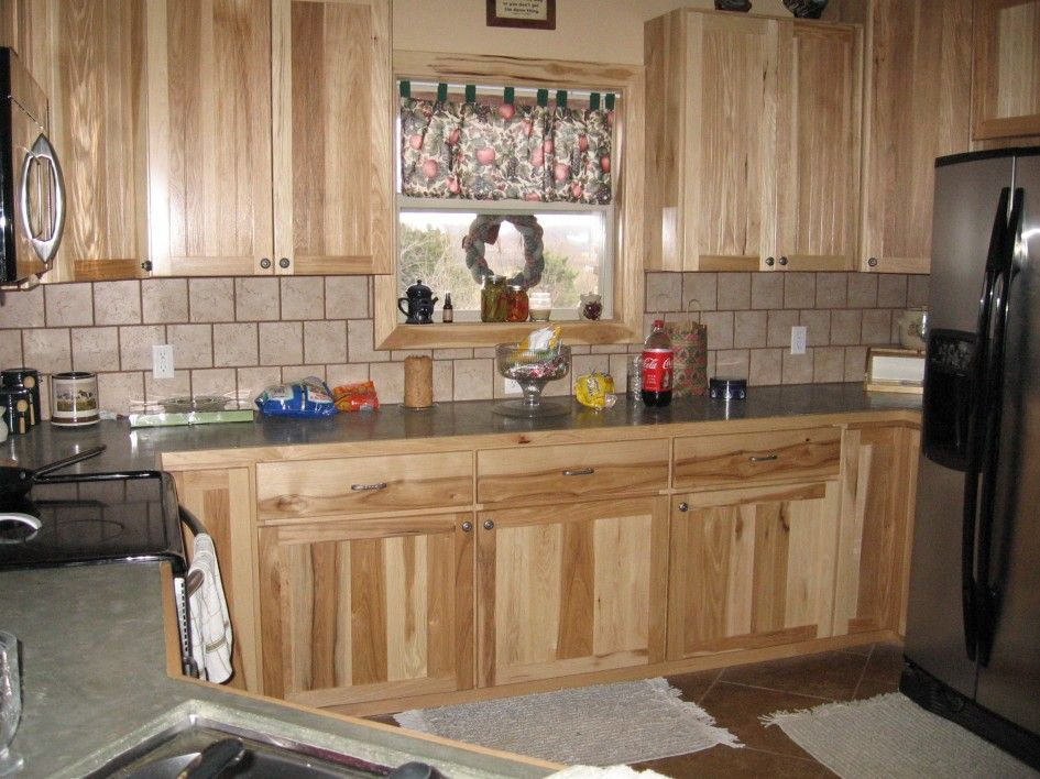Kitchen, Attractive Wall Tiles Like Stones Backsplash With Natural Marble  Countertops And Unfinished Wood Kitchen Hickory Cabinets Also Cool Kitchen  Rugs On ...