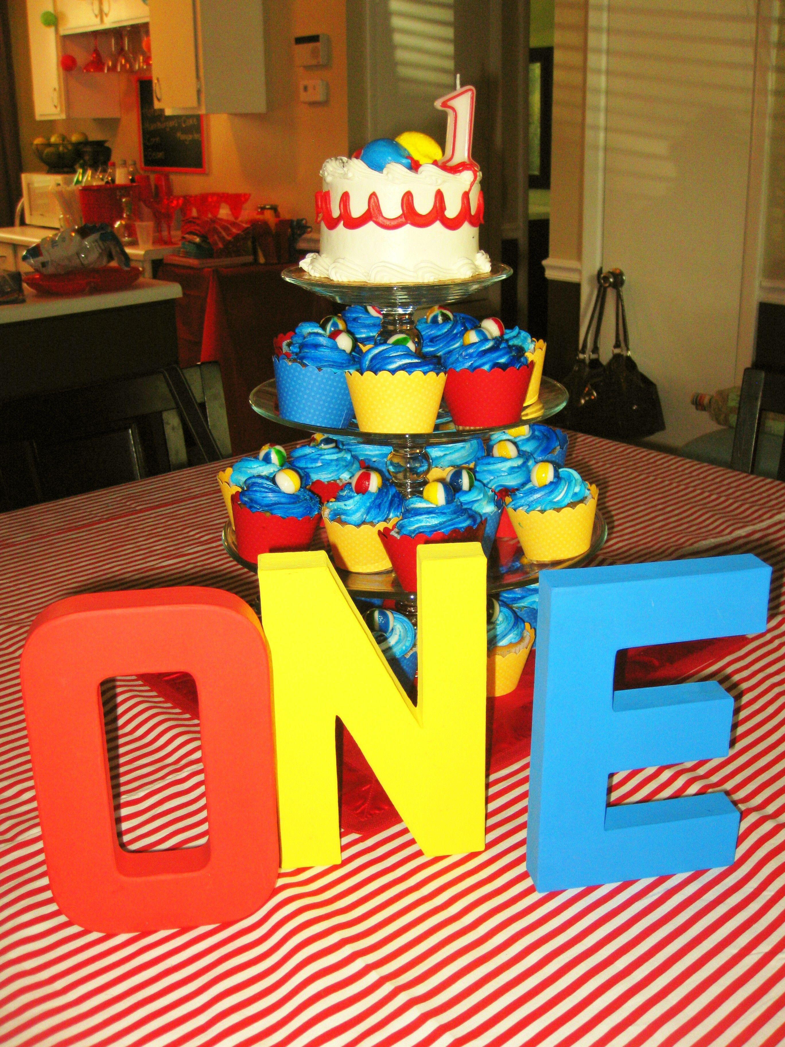 Beach Ball Bash Painted Number O N E Wave Cupcakes With Candy