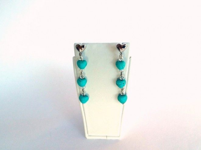 VALENTINES DAY SALE, Turquoise Hearts Earrings, Dangle, Gift, Heart Earrings, Earrings, Women Jewelry, Turquoise Jewelry