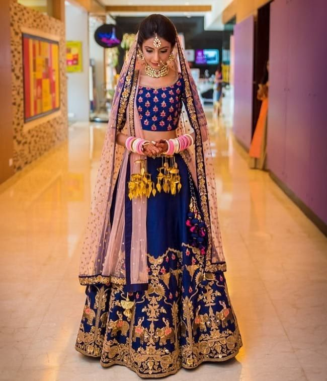 Navy Blue Embroidered Wedding Lehenga