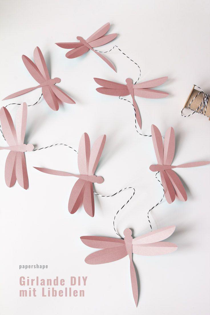 3D Libellen basteln aus Papier (mit Bastelvorlage)