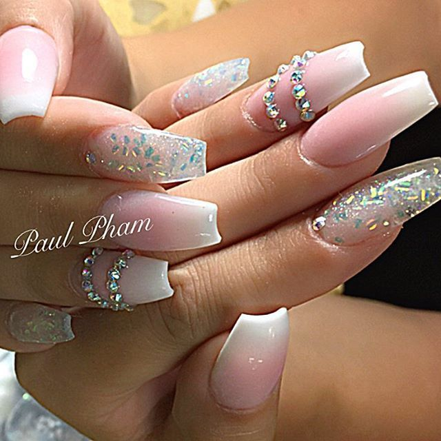 Pink And White Ombre Nails With Rhinestones - NailsTip