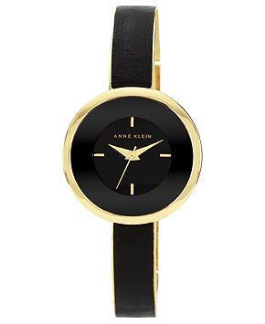 Anne Klein Watch, Women's Black Leather and Gold-Tone Bracelet 31mm AK-1232BKGB - Anne Klein - Jewelry & Watches - Macy's
