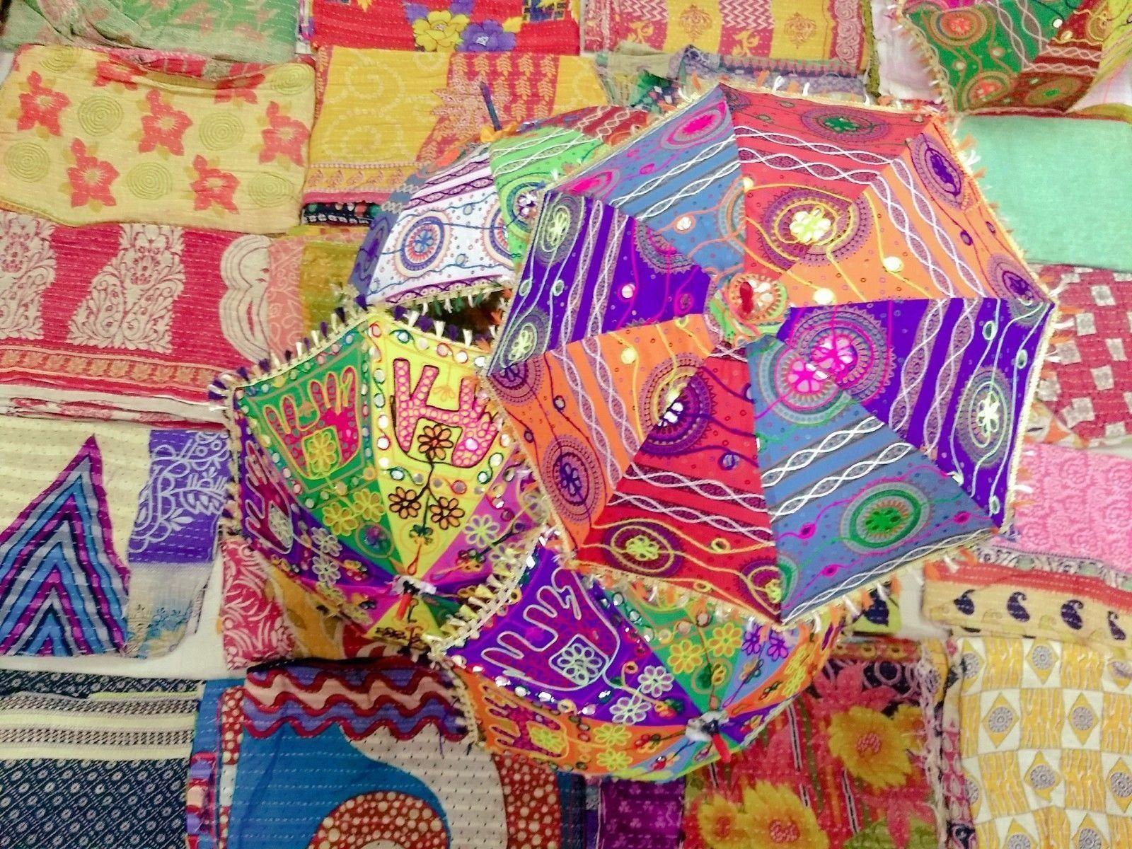 Indian Desinger Umbrellas Vintage Cotton Embroidered Parasol Decor 20 Pcs Lot