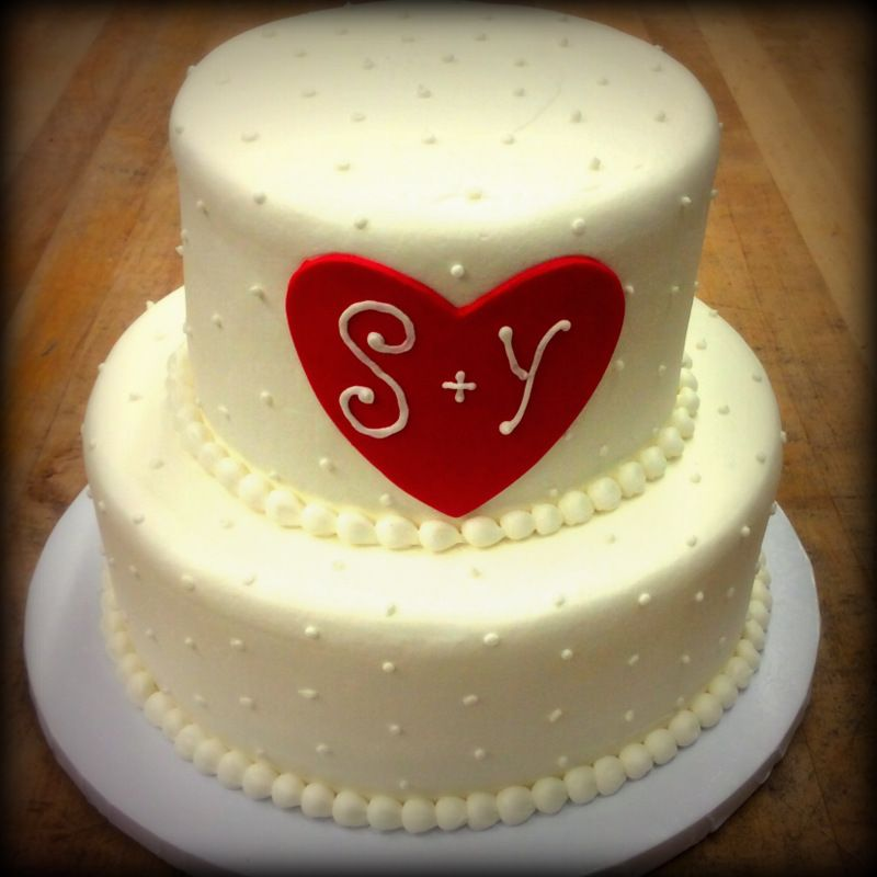 Bridal Shower Party Cake with Red Fondant Heart Fun Cakes for - one week notice