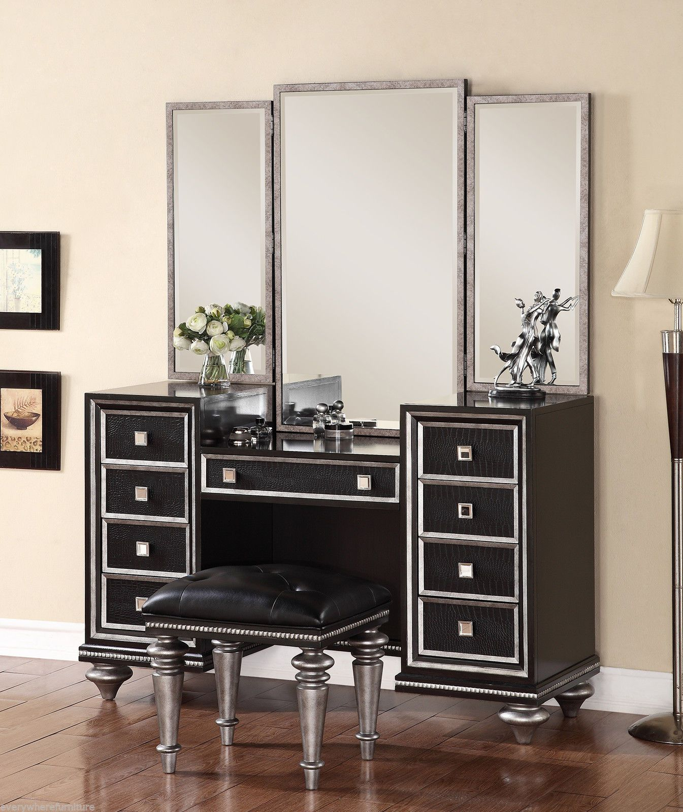 Wynwood Glam Black Mirrored King Size Mansion Bed Bedroom Furniture  Hollywood