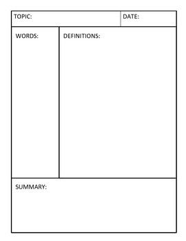 Cornell Notes Templates 3 Different Variations Cornell Notes