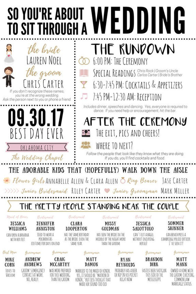 "Funny Infographic Wedding Program / Games & Activities / Word Search / Custom / Mad Lib / Printable / 6x9"" / Popular / Funny Facts"
