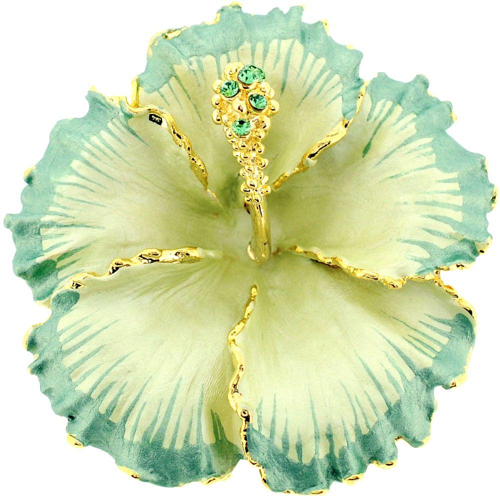 e598583eef0 Sea Green Hawaiian Hibiscus Flower Swarovski Crystal Brooch and Pendant -  Fantasyard Costume Jewelry & Accessories