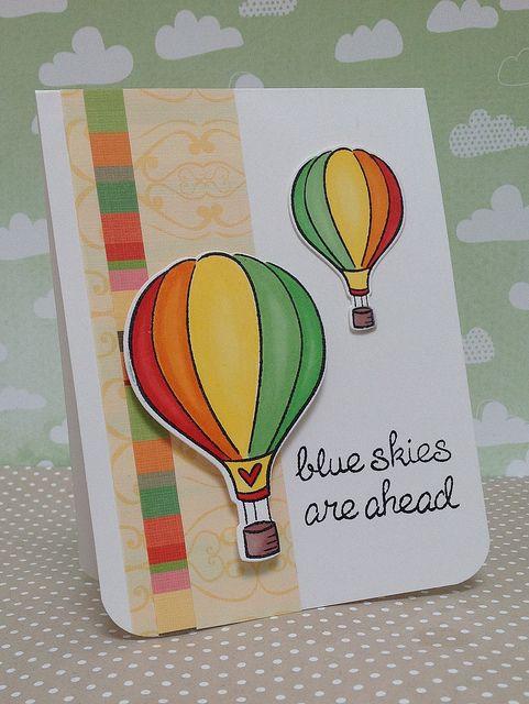 воздушный шар на открытке своими можно