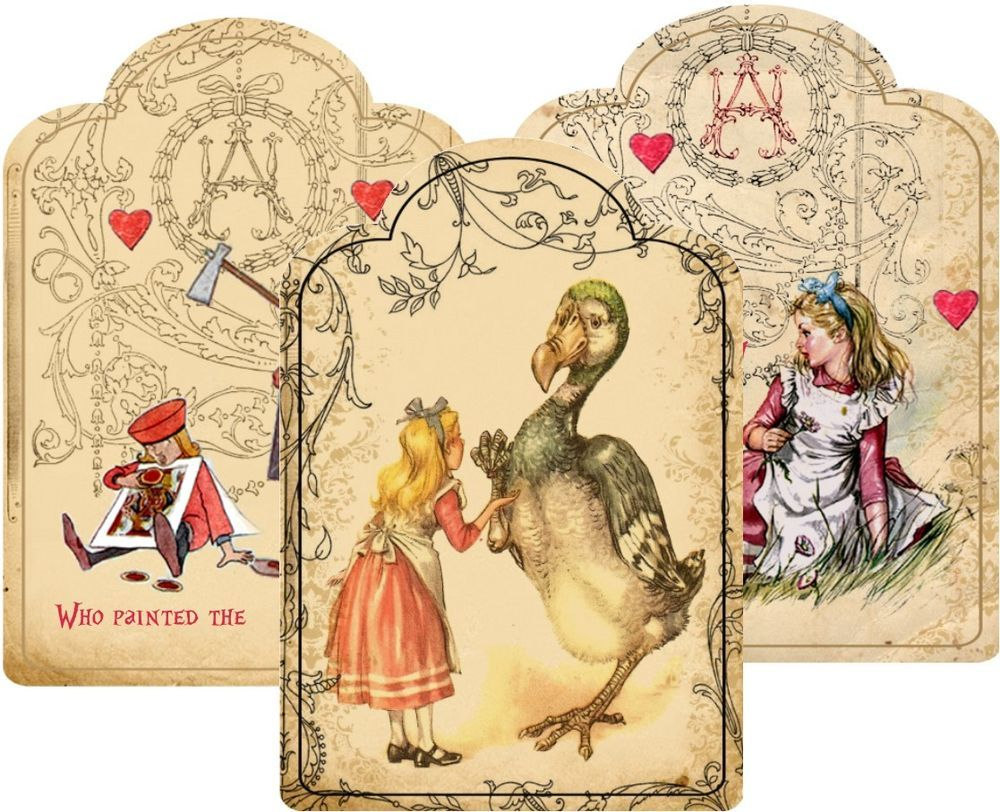 Alice In Wonderland Large Tent Cards Party Favor Table Decoration - Large table tent cards