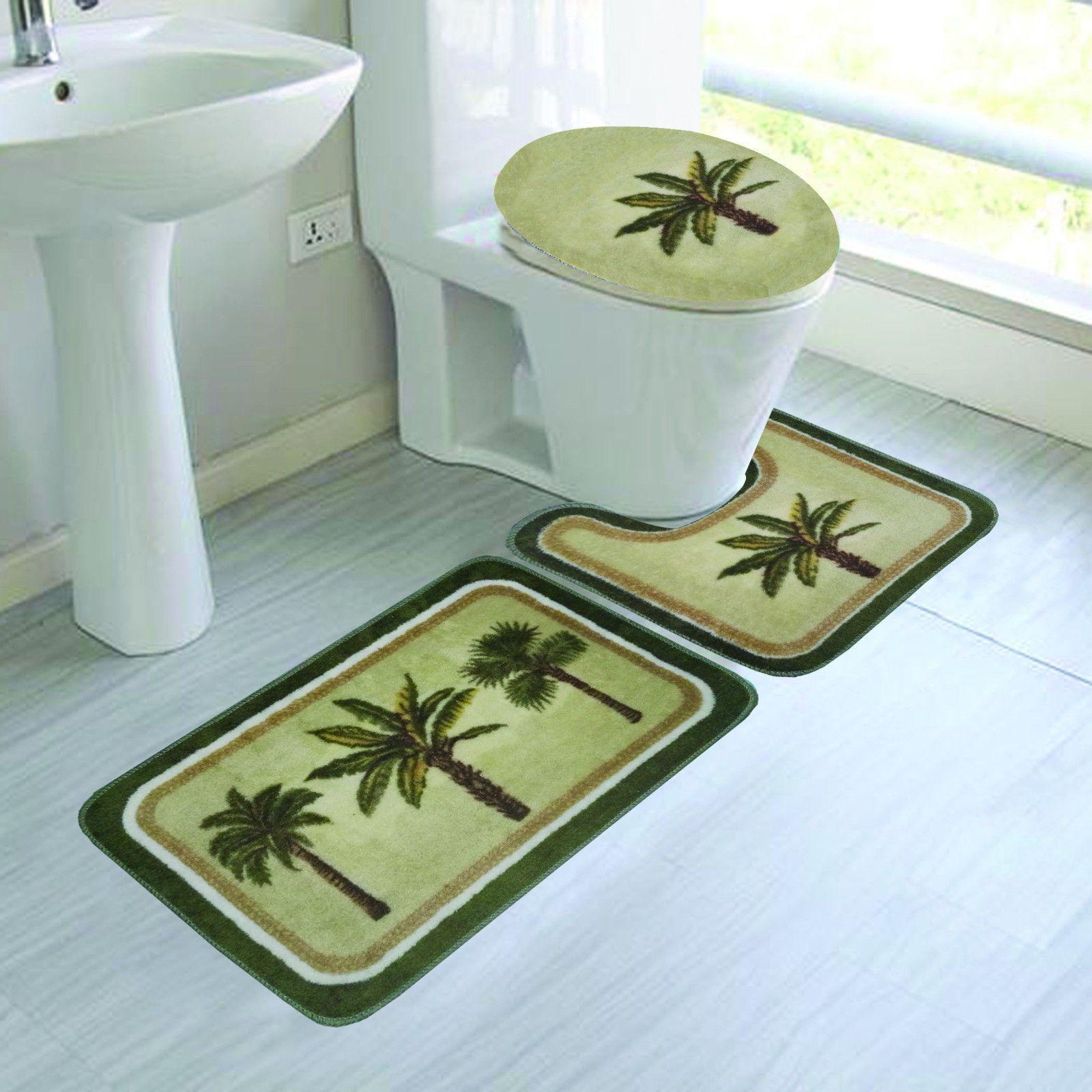 Bathroom Bath Non Slip Rug Mat Set Toilet Lid Cover 3pc Palm Tree Bathroom Rug Sets Rugs Bathroom Bath