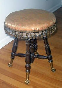 Antique Glass Clawfoot Piano Stool | eBay