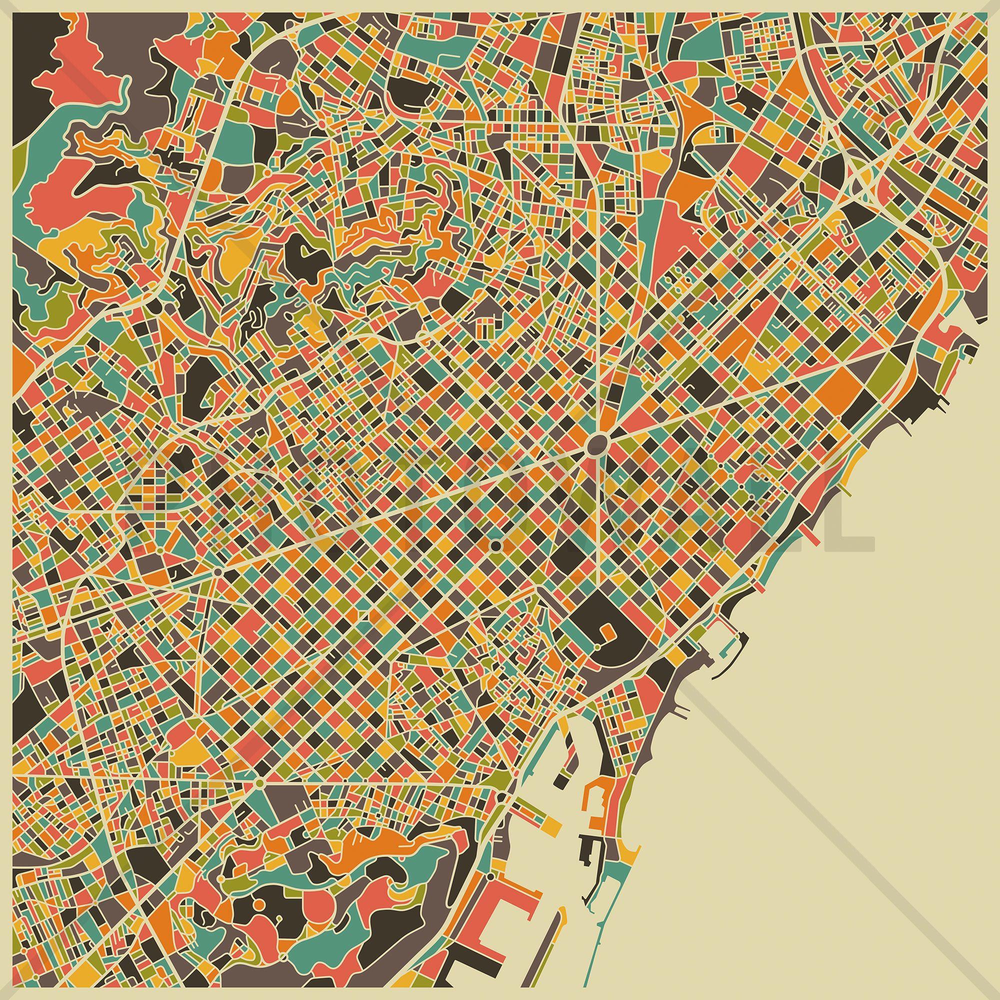 Multicolor Map  Barcelona  Wall Mural & Photo Wallpaper