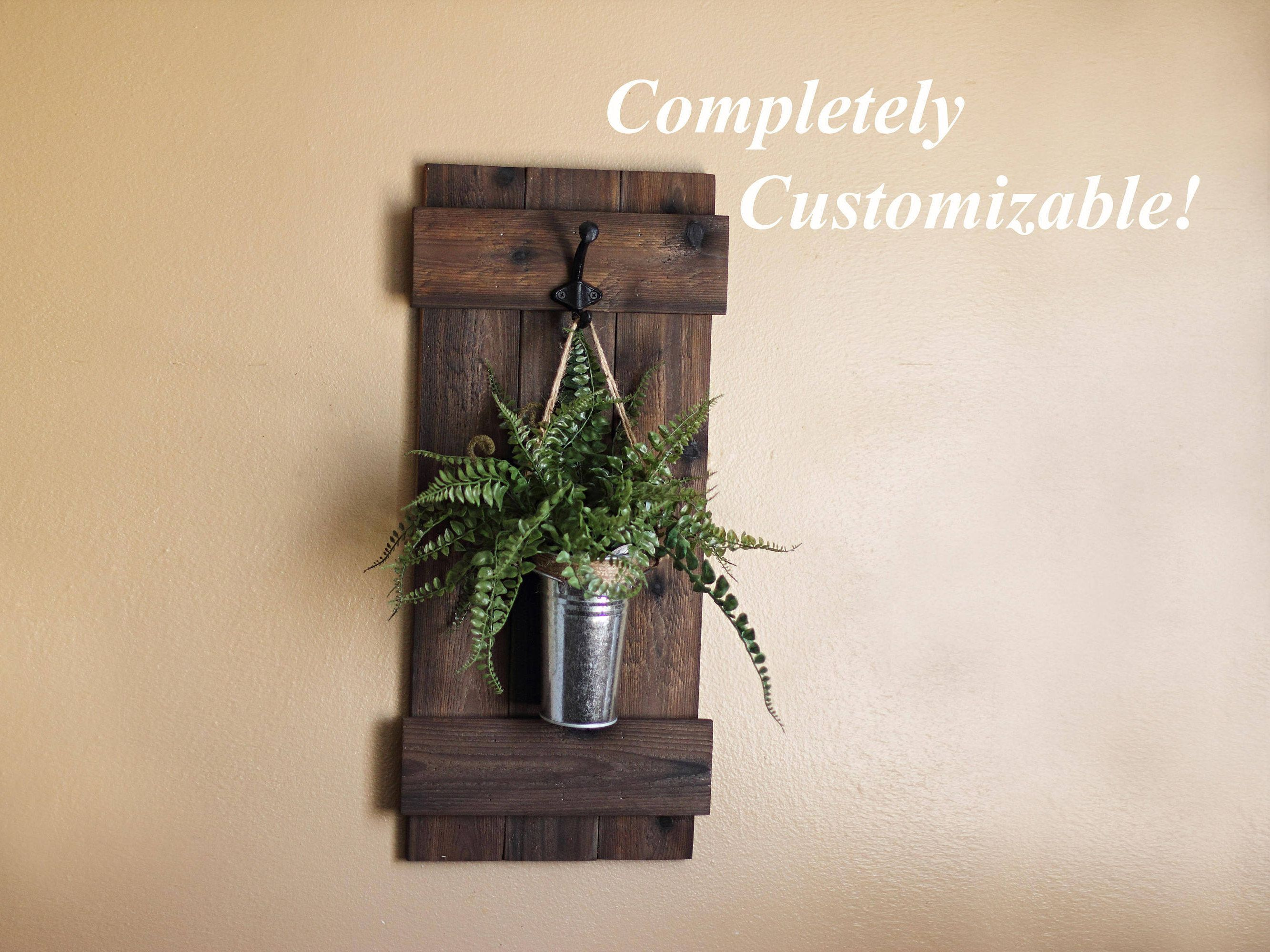 Hanging Wall Planter Rustic Wall Decor Indoor Wooden Planter