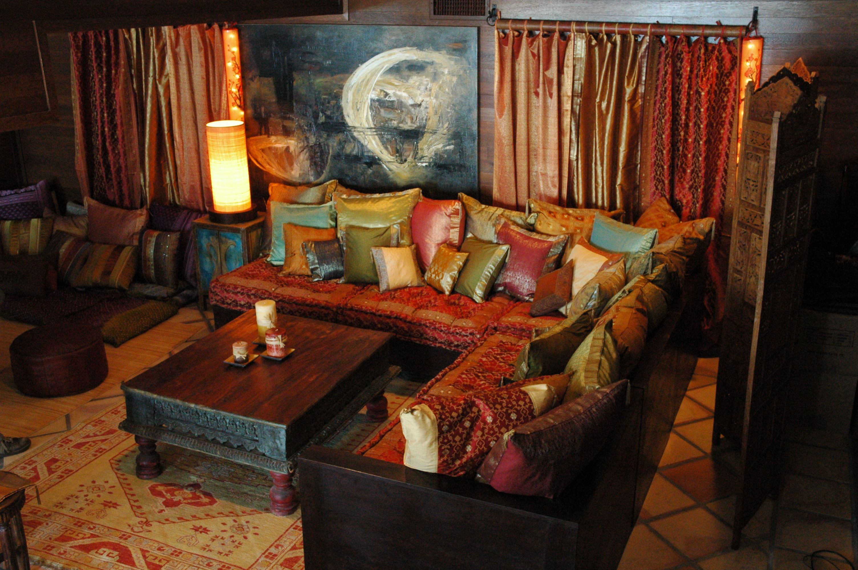 Indian Inspired living room decoration setting. Hand carved ...