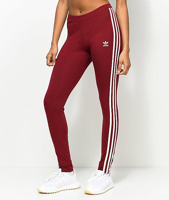 Adidas 3 Stripe Burgundy White Leggings Zumiez In 2020 Burgundy Leggings Attractive Clothing Olive Leggings