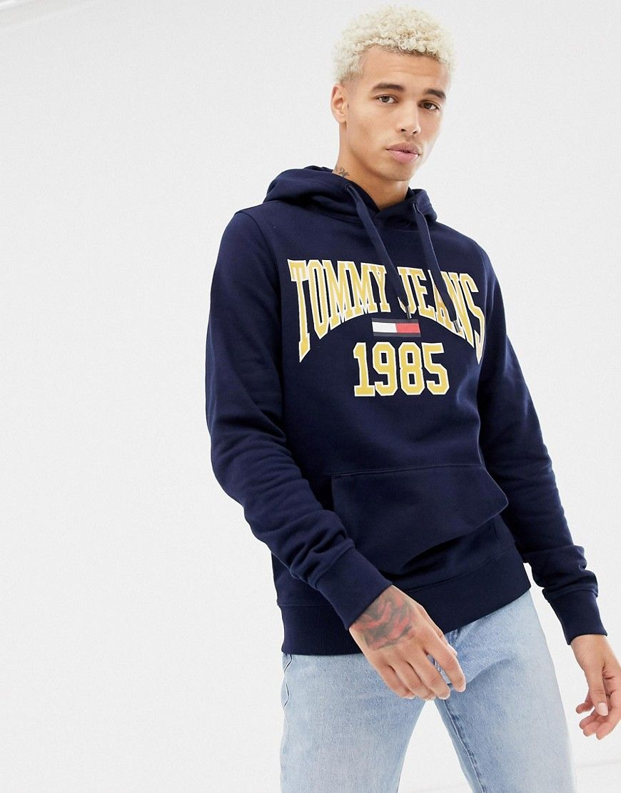 ae2fdc9e TOMMY JEANS 1985 LOGO PRINT HOODIE IN NAVY - NAVY. #tommyjeans #cloth