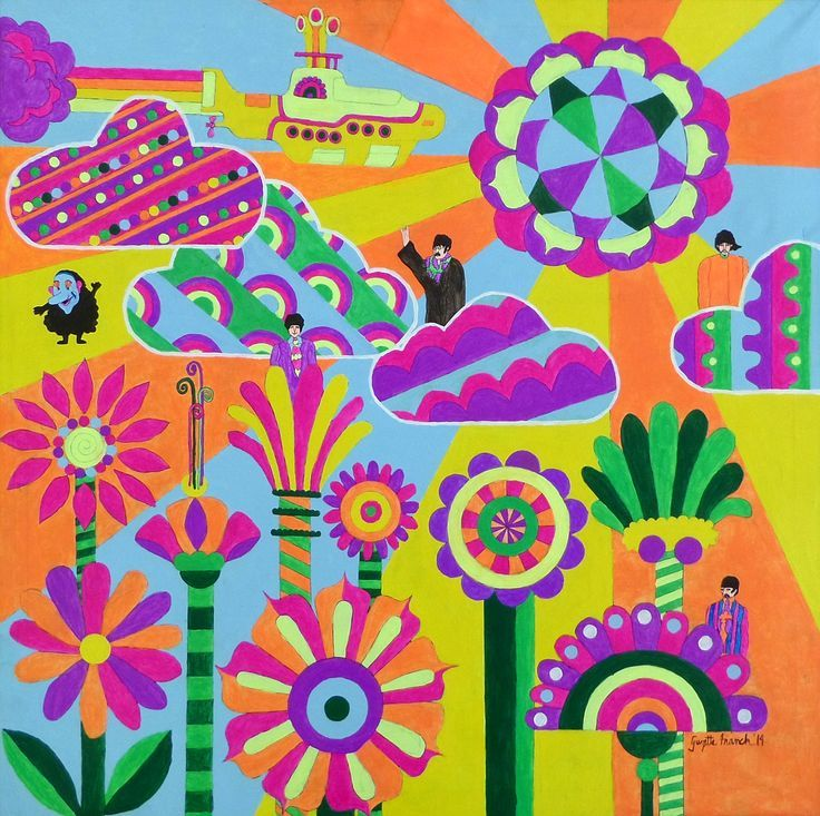 Yellow Submarine Peter Max Flowers Picswe