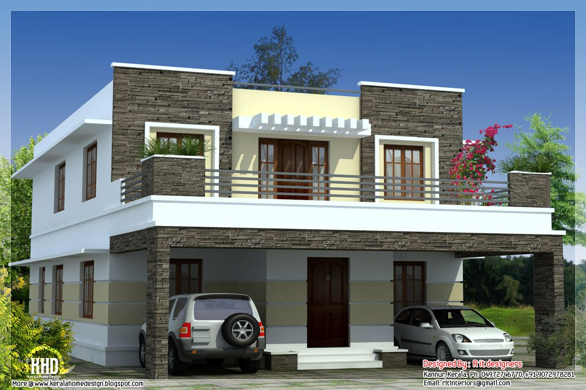 flat roof house design designers kannur kerala october kerala home design floor plans - House Plans Design