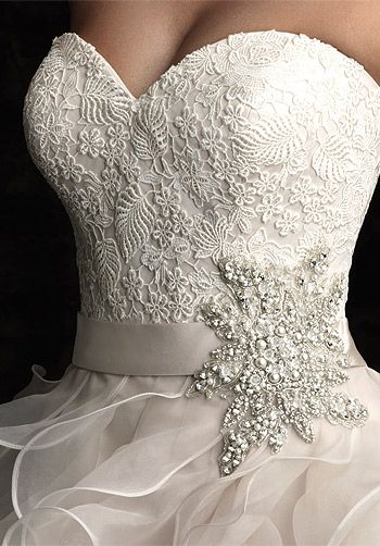 Beautiful organza and lace bridal gown with an amazing rhinestone ...