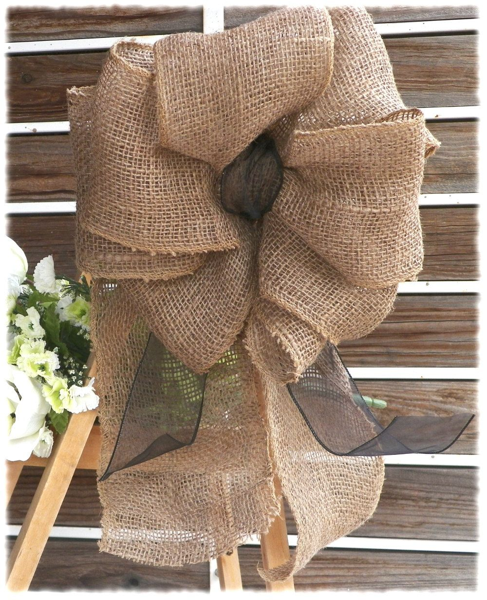 Knitted wedding decorations  Burlap Burlap Bow Wreath Bow Burlap Decoration Pew Bow Wedding