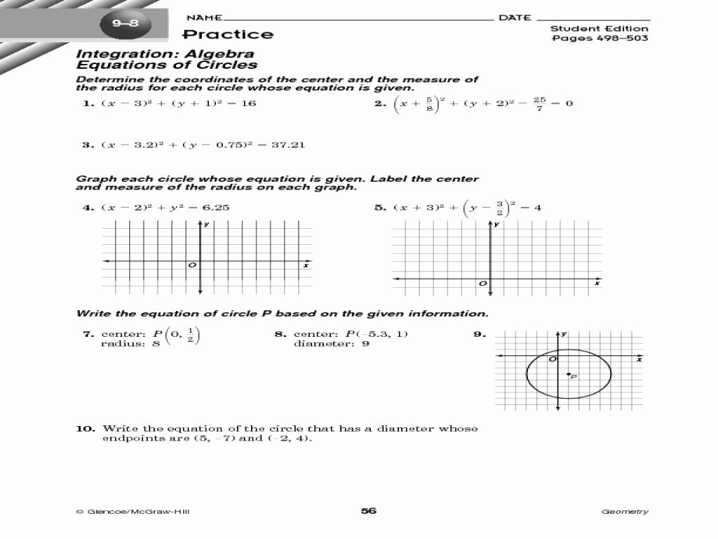 Equation Of A Circle Completing The Square Worksheet