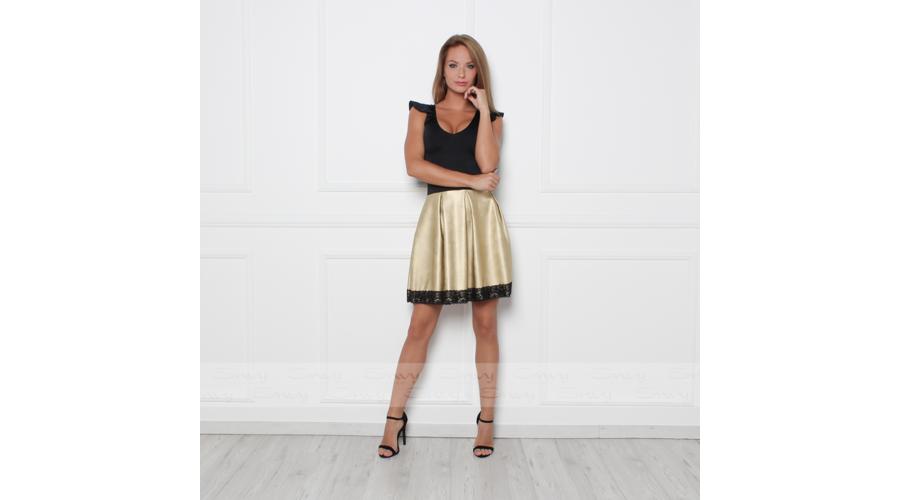 f2a207e254 Envy fekete-arany A-vonalú alján bőrhatású ruha | Trend for Me Kft ...