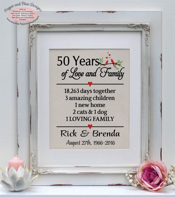 Gifts For Wedding Anniversaries For Each Year: 50th Anniversary Gift 50 Years 50 Year By