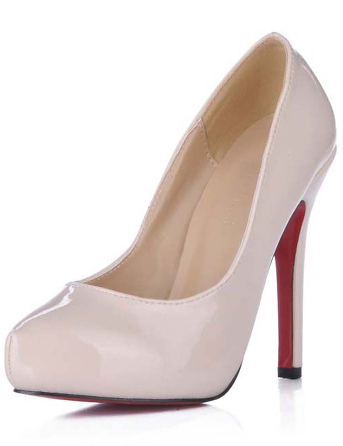 e572b1160697 Heel Height 2  Platform Ivory Patent Leather Red Bottom Shoes Highheels