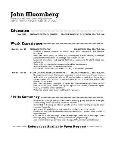 Experienced Massage Therapist Resume Template Resume Examples Sample Resume Templates Resume
