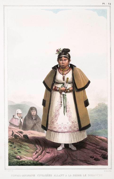 Femmes Gouaranis civilisées allant à la messe le Dimanche, 1834