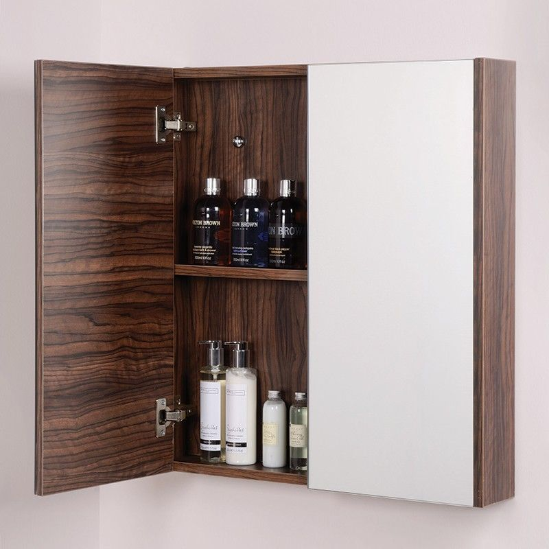 The Aspen Slimline 600mm Mirror Cabinet In Walnut Is Compatible With Bathroom