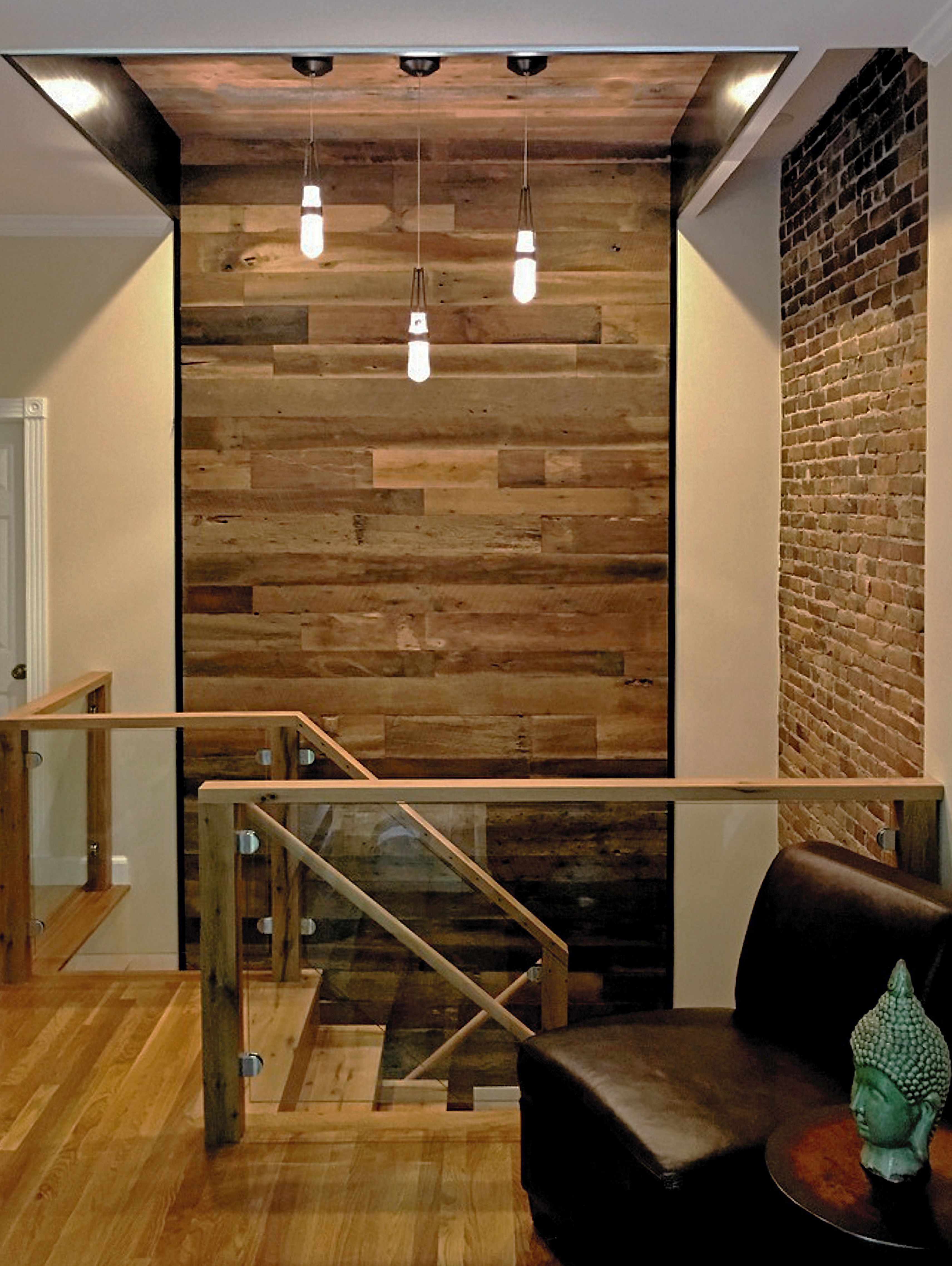 New Reclaimed Wood Stair With Reclaimed Wood Feature Wall