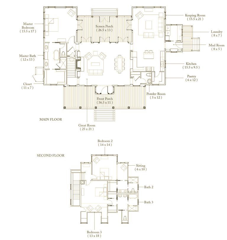Palmetto Bluff Page Architectural Floor Plans Cottage