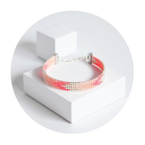 Bracelet fin Eevi - Bracelet tissé en perles Miyuki - bead woven bracelet with Japan beads - Rose corail