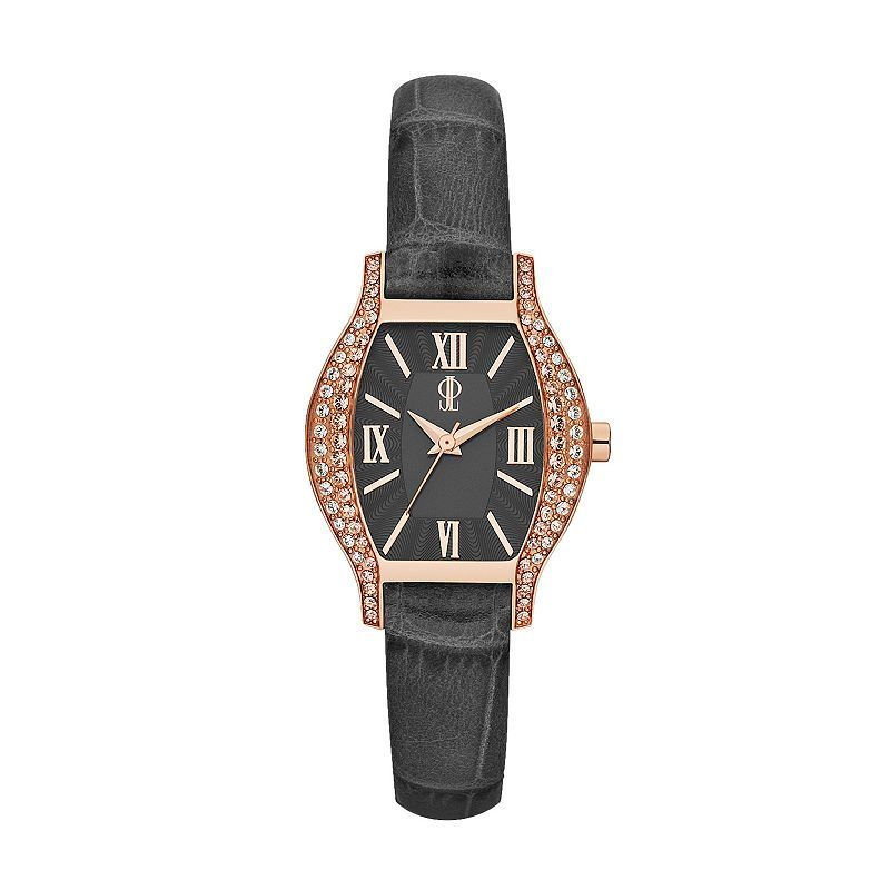Jennifer Lopez Women's Crystal Leather Watch, Grey