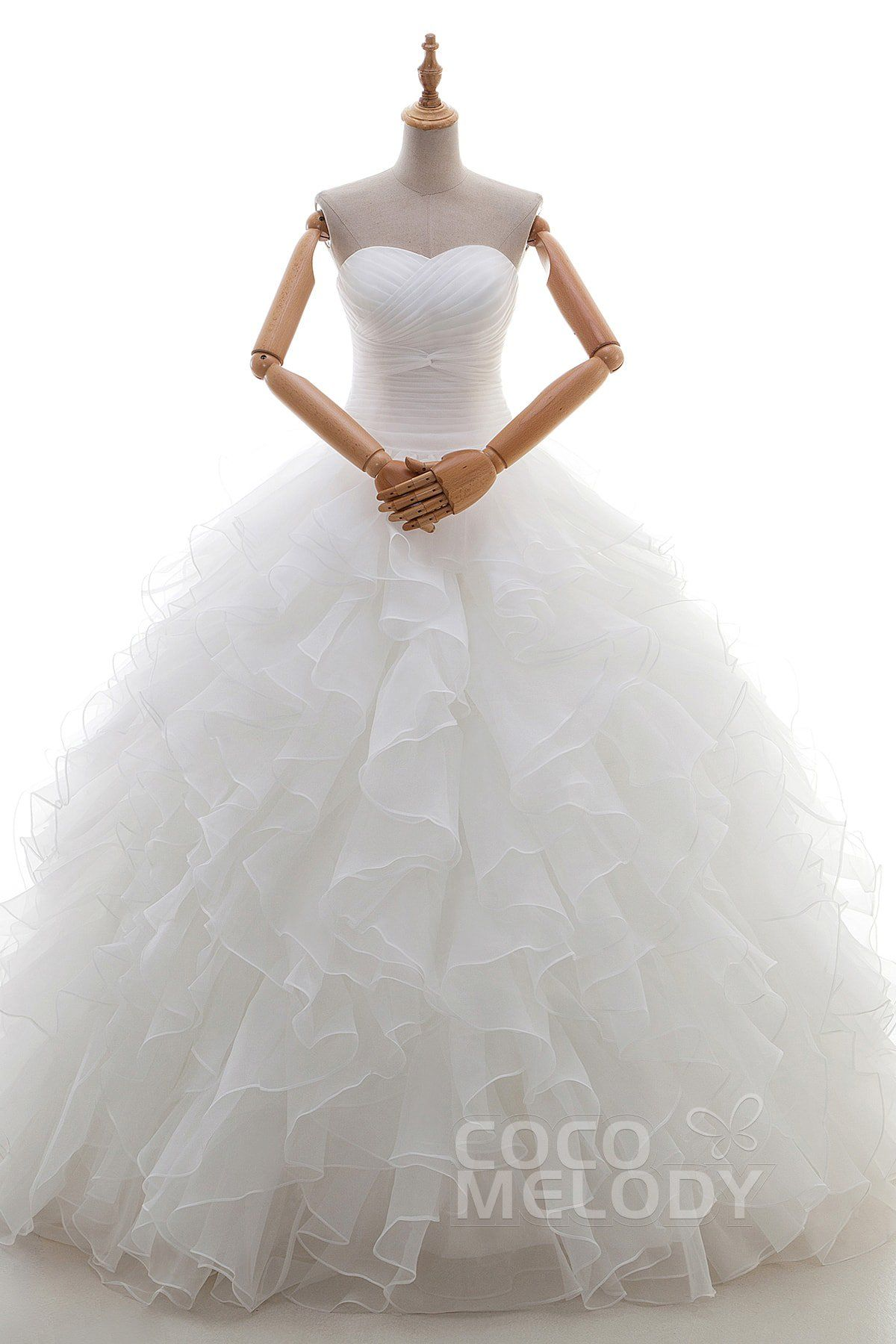 Graceful ball gown sweetheart natural floor length satin and organza