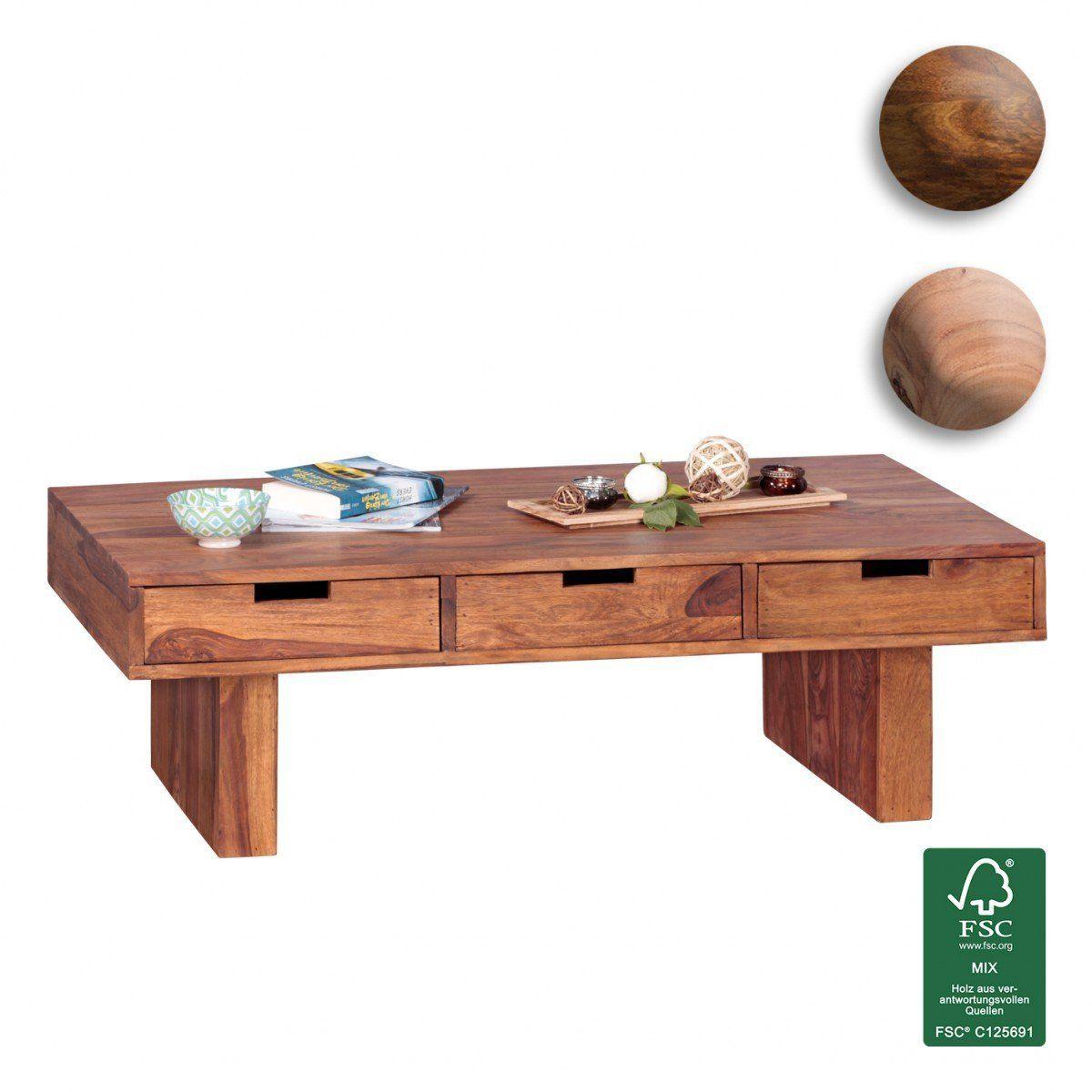 Finebuy Couchtisch Massivholz Design Wohnzimmer Tisch 110 X 60 Cm 3 Schubladen Landhaus Stil Holztisch Rechteckig Na Couchtisch Massivholz Couchtisch Holztisch
