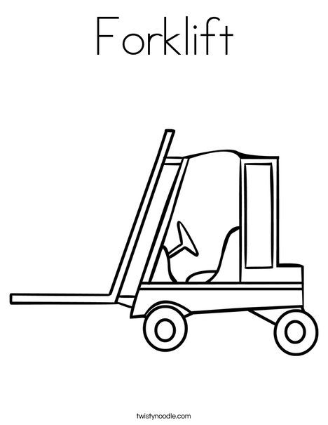 Forklift Coloring Page From Twistynoodle Com Coloring Pages