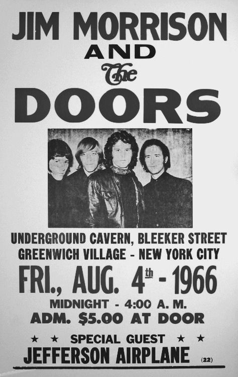 Jim morrison and the doors concert poster 1966