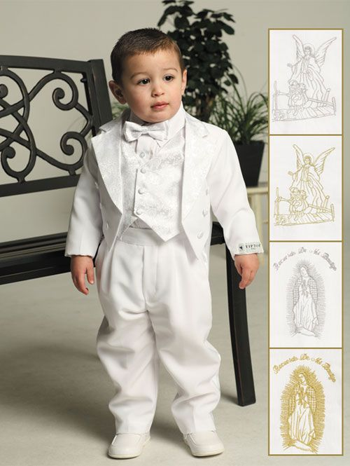 Baby Boy Tuxedo Suit 5 pcs Set Ivory// White Christening Wedding Baptism Birthday