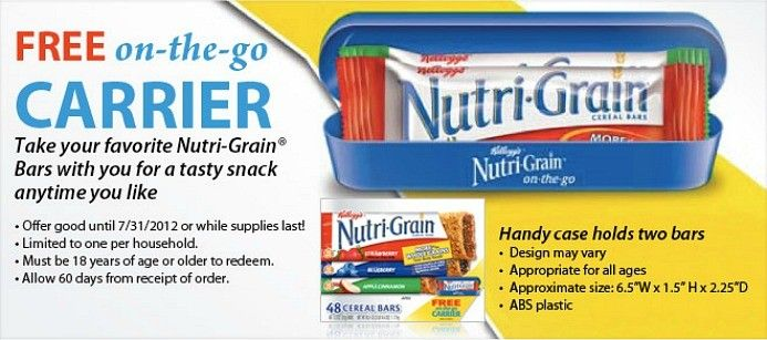 Free Kellogg S S Nutri Grain On The Go Carrier Case Nutrigrain